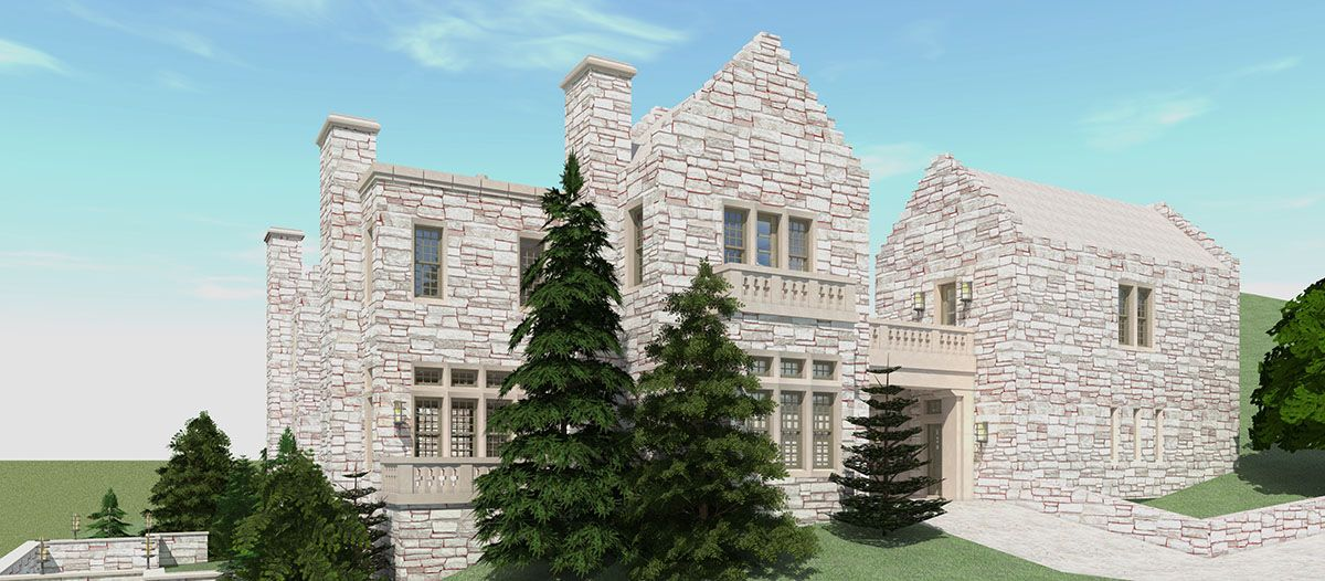 Plan 44136TD Castle House Plan with Six