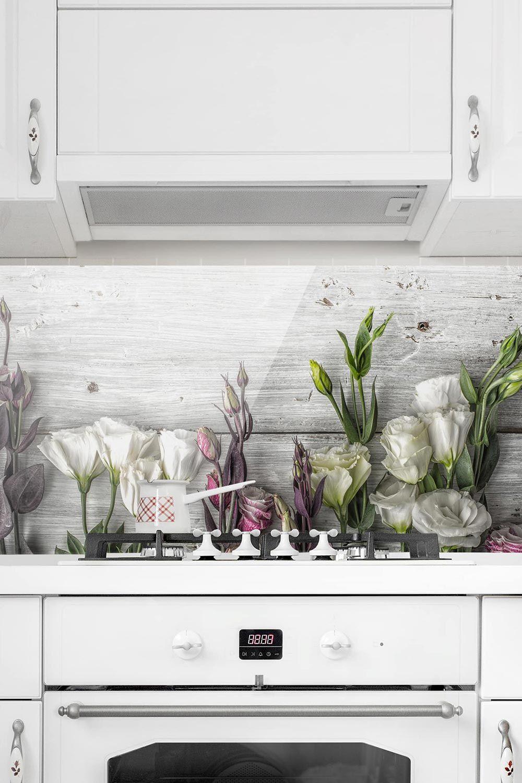 Spritzschutz Glas - Tulpen-Rose Shabby Holzoptik - Panorama