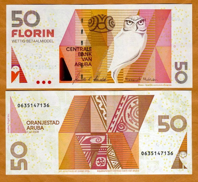 Aruba 50 Florin 2008 P New Unc Owl Ebay Money Notes Folding