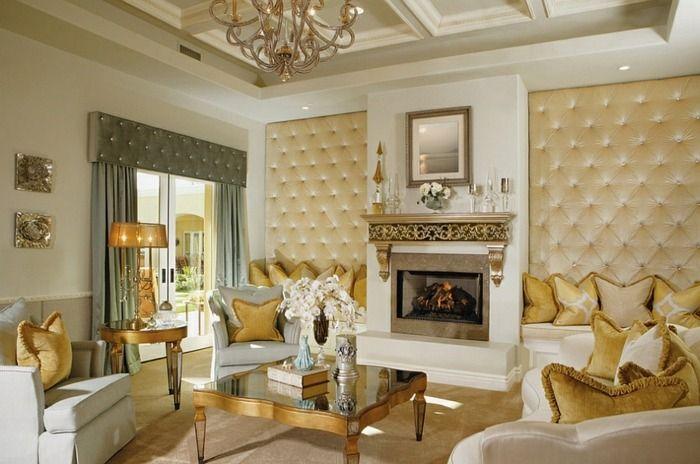 Wohnzimmer Paneele, wand paneele mit polster in einem luxuriös gestalteten wohnzimmer, Design ideen