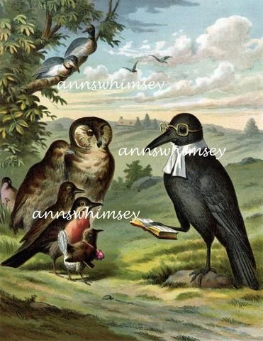 """Child's Story Restored Art Print, Anthropomorphic Print """"Who Killed Cock Robin"""", The Funeral Beautiful, Fanciful Print #332 - Two Broads and a Shop"""