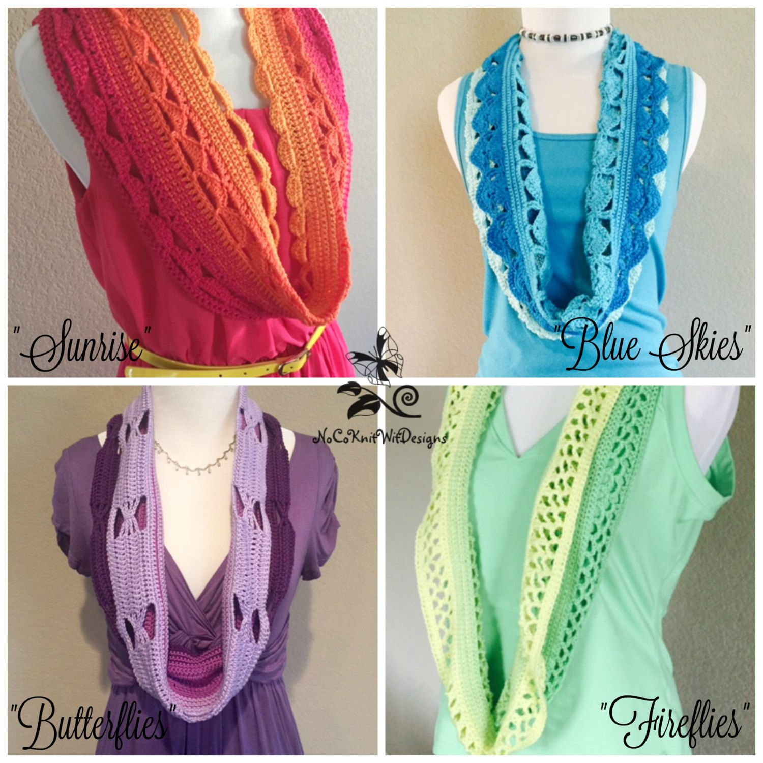 Crochet Scarf Pattern 4 Pack | Ombre Scarf Patterns | Spring ...