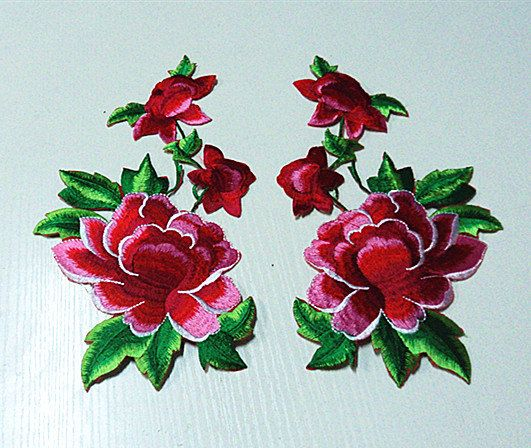 Vintage Flower Applique Patterns: One Pair Peony Flower Applique Embroidery Patch DIY