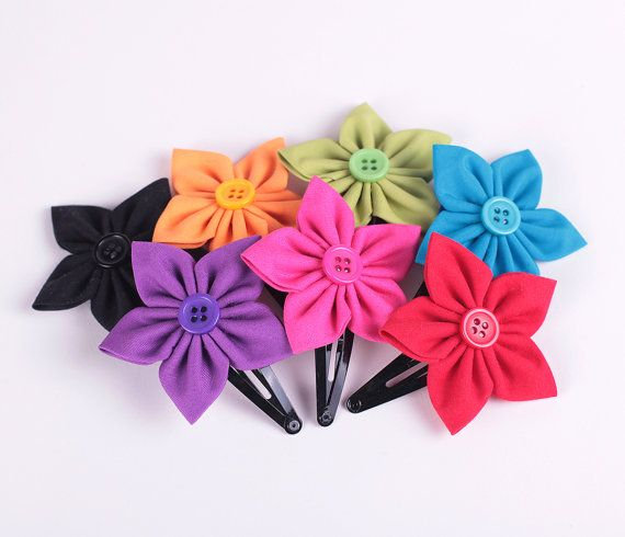 Flower fabric hair clip accessory handmade little by petitesalu