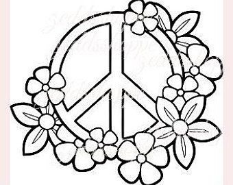 Peace Floral Svg Hippy Yoga Design Silhouette Cricut Instant Download Heart Coloring Pages Coloring Pages For Teenagers Easy Coloring Pages
