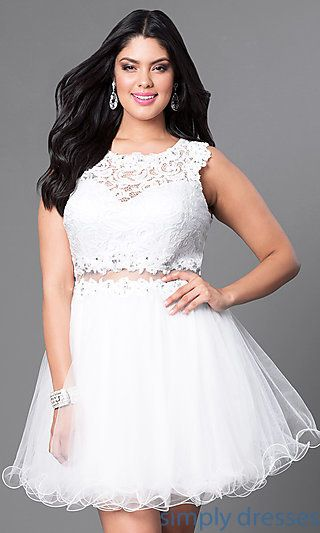 Short White Plus Size Mock Two Piece Party Dress Semi Formal