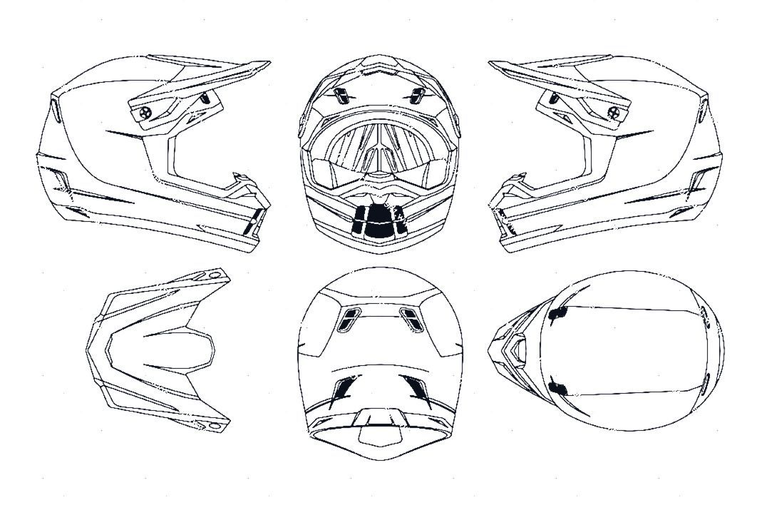 Download Blueprint Of Motocross Helmet Blueprint Motocross