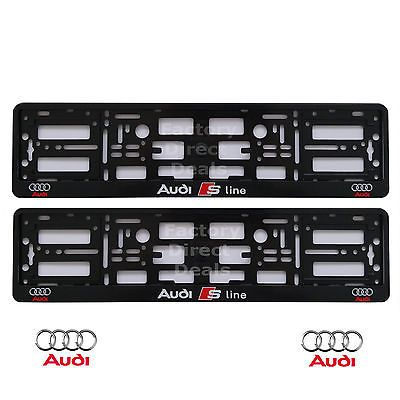 sline black for pair audi chrome product license fit plate silver metal frame