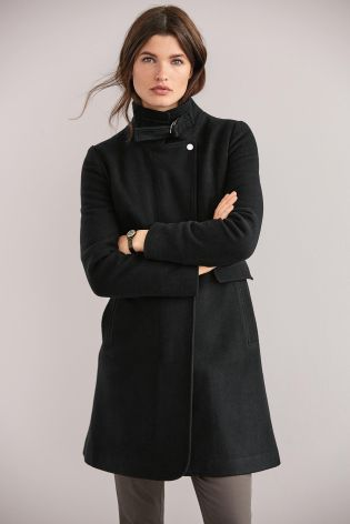aliexpress running shoes incredible prices Black Funnel Neck Coat - Next - £62 in 2019   Long black ...