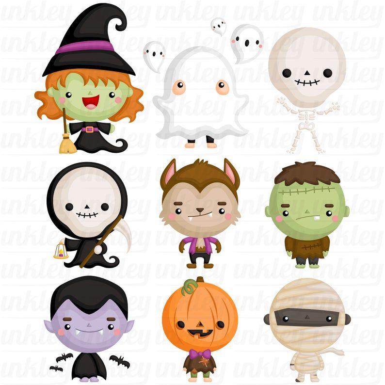 Halloween Costume Clipart Cute Monster Clip Art Cute Etsy Cute Halloween Drawings Cute Monsters Halloween Clipart