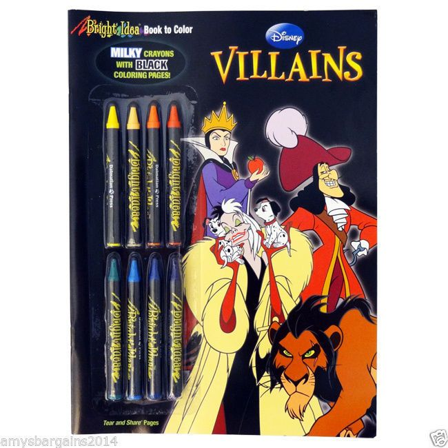 Disney Villains Bright Idea Book To Color Black Coloring Pages With 8 Crayons Disney Villains Disney Coloring Pages Villain