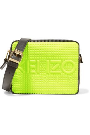 34c850e072 KENZO Paneled perforated leather and embossed neoprene shoulder bag ...