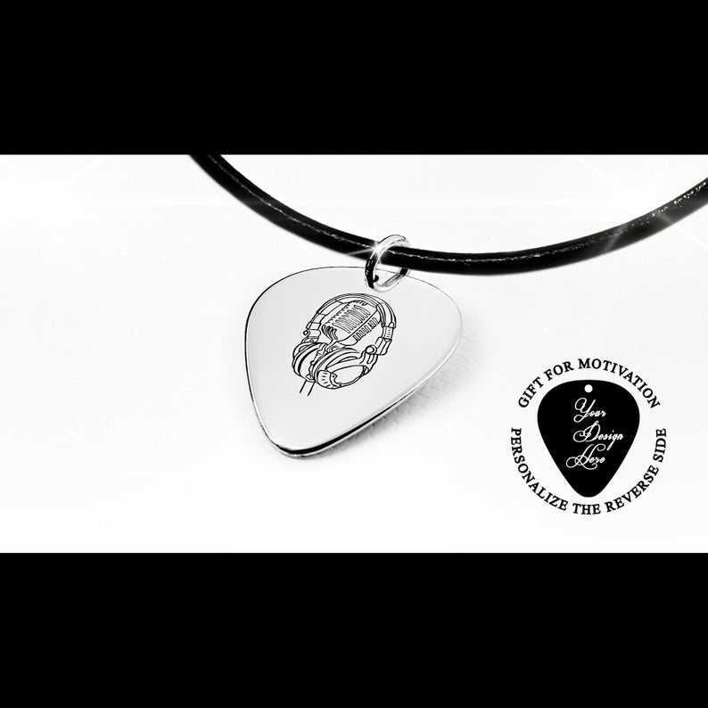 Silver jewelry Guitar pick Personalized gift 21st birthday