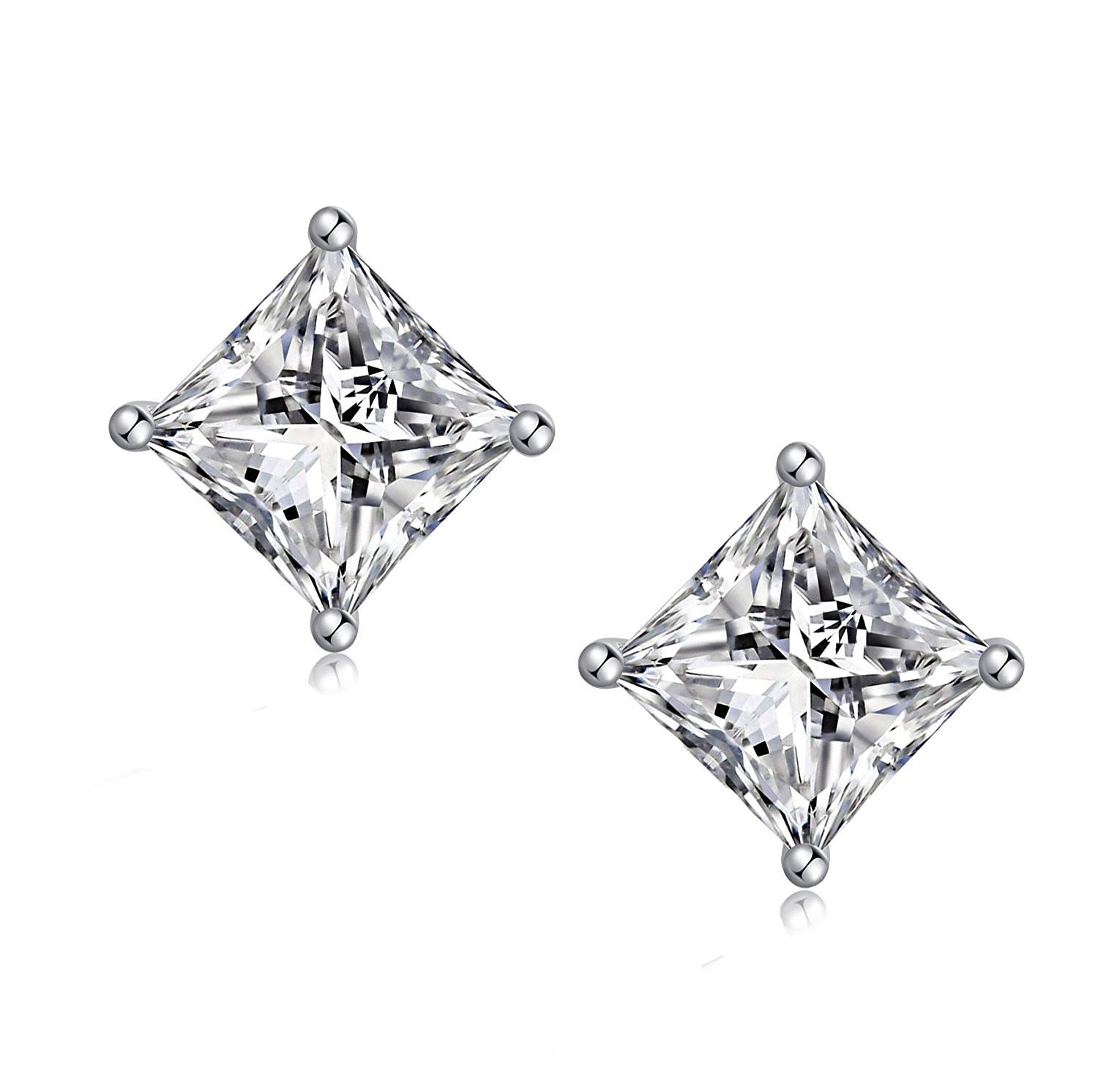 925 Sterling Silver Square Cubic Zirconia Stud Earrings Hypoallergenic Clear Princess Cut Aaa Fake Diamond For Men And Women 4 8mm