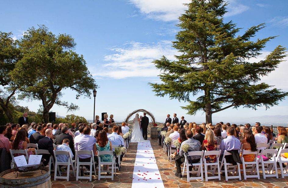 beautiful wedding places in northern california%0A Ceremony on The CHATEAU DECK   The Mountain Winery   Saratoga  CA wedding  venue