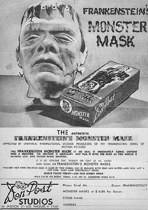 Don Post Frankenstein mask ad.