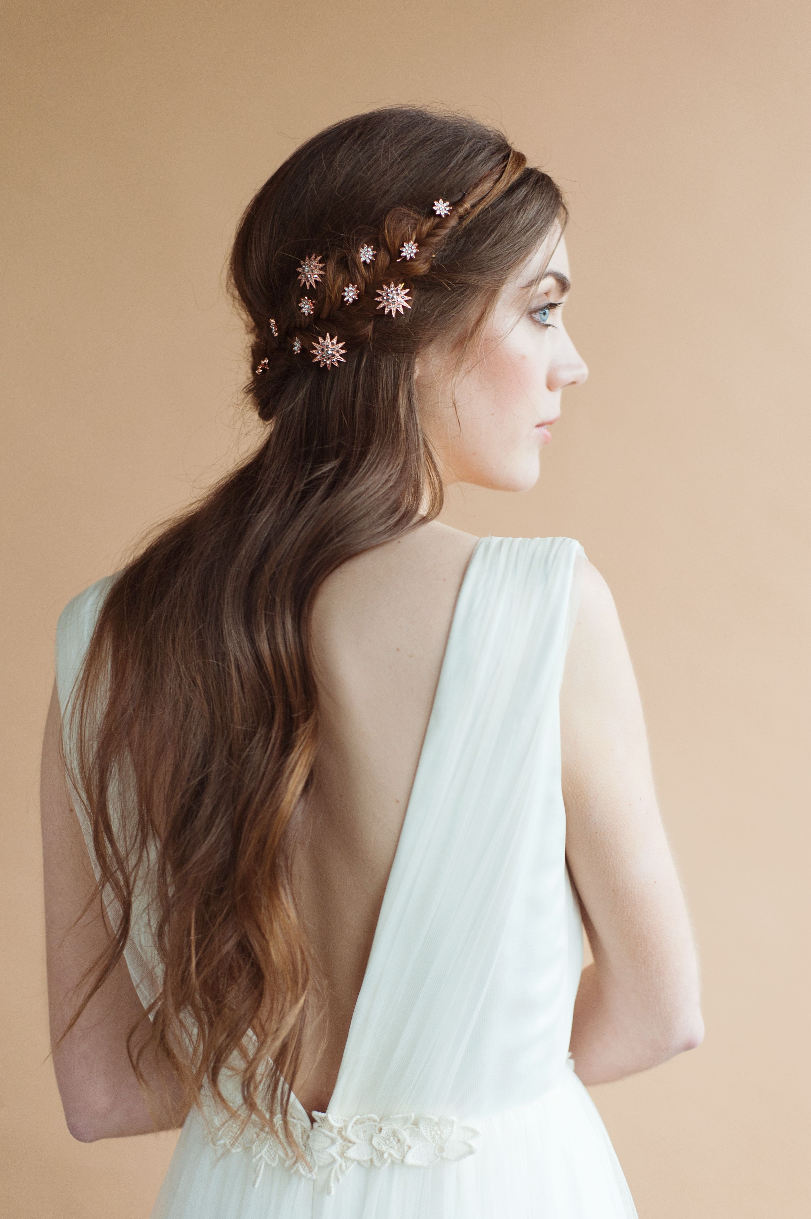 lucy star and daisy bobby pins in rose gold | modern bridal
