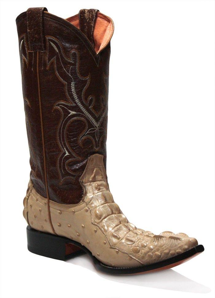 b9182f827a3 Jugo Boots® 5763 Bota Vaquera de Hombre Avestruz Combinacion Nuca Lagarto 4  Crema Chihuahua