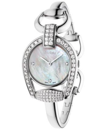 5d4d7420552 Gucci Women s Swiss Horsebit Diamond (1-11 20 ct. t.w.) Stainless Steel  Bangle Bracelet Watch 28mm YA139505 - Sliver