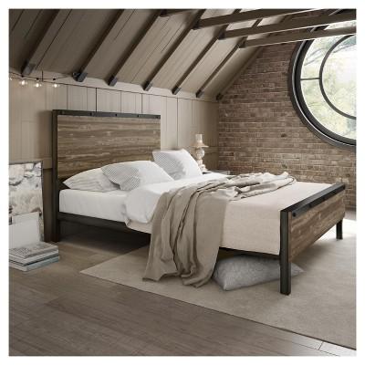 Winkler Full Metal And Wood Bed Gunmetal And Beige