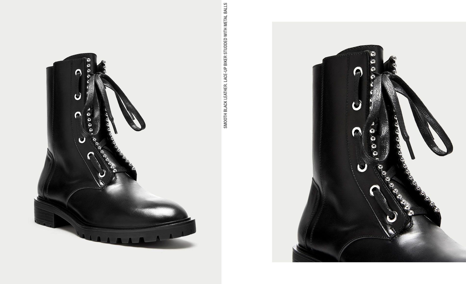 ZARA. Black lace up boots. Fall Winter 2017 2018 Shoe