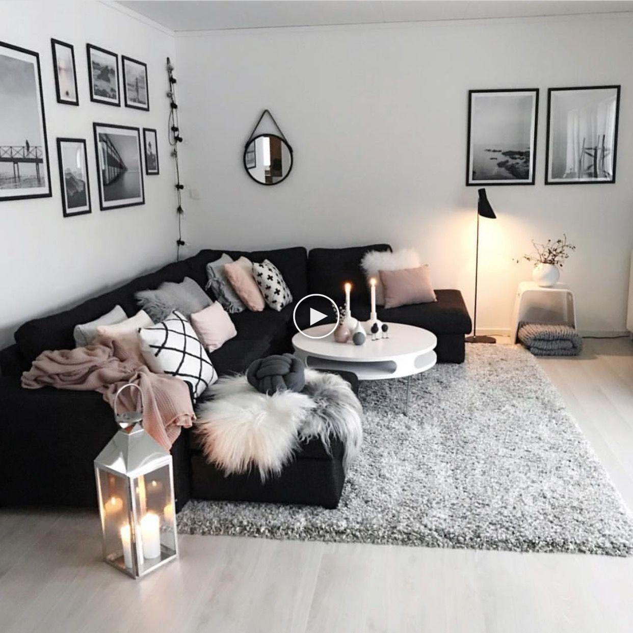 salon confortable et moderne noir blanc gris rose #ideesdesalon