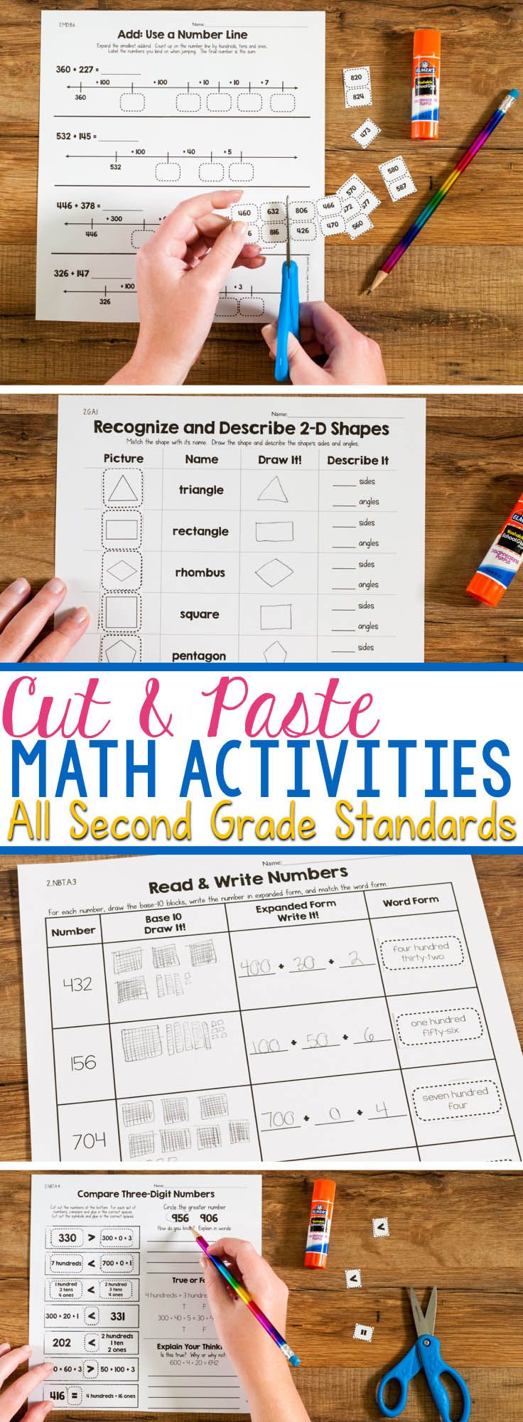 Cut & Paste Math Activities for Every Second Grade Standard | Common ...