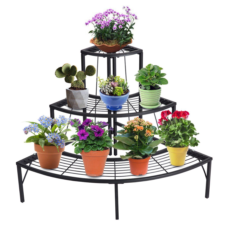 Doeworks 3 Tier Plant Stand Flower Pot Rack Quarter Round Plant