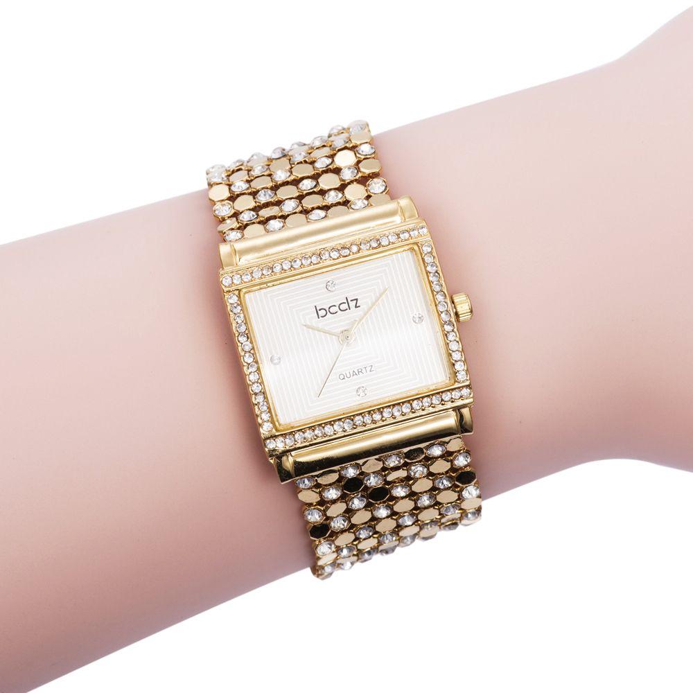 Click to buy ucuc top girls dress luxury gold bracelet quartz