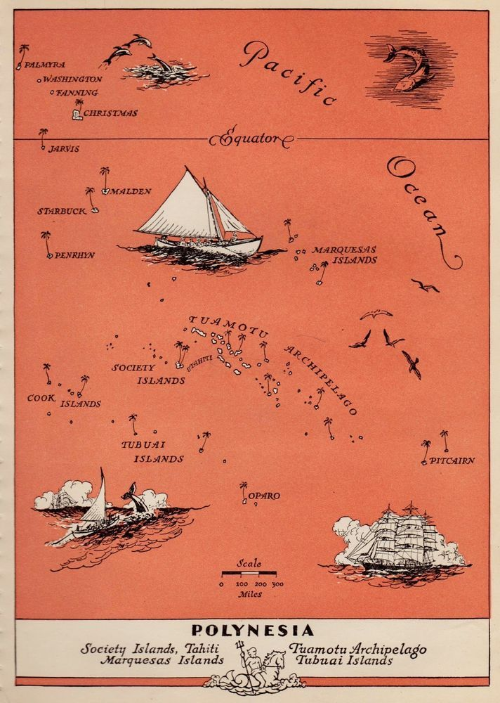 1945 Vintage POLYNESIA Map Fun Pictorial PACIFIC ISLANDS Picture Map ...