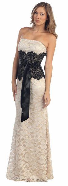 Long Formal Lace Khaki Dress Sash Strapless Tight Sexy Black Waist