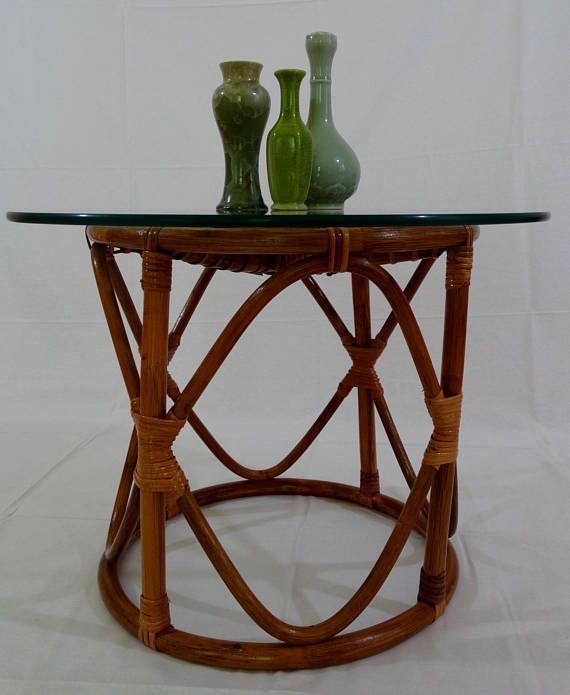 Vintage Round Rattan Side Table Or Night Stand
