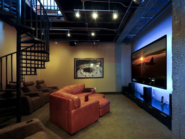 Urban Man Cave Fire : Urban chic style this multipurpose media room retains an