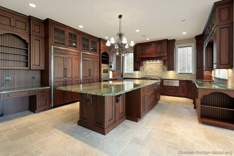Traditional Dark Woodcherry Kitchen Cabinets  Kitchen Awesome Kitchen Floor Designs Decorating Inspiration