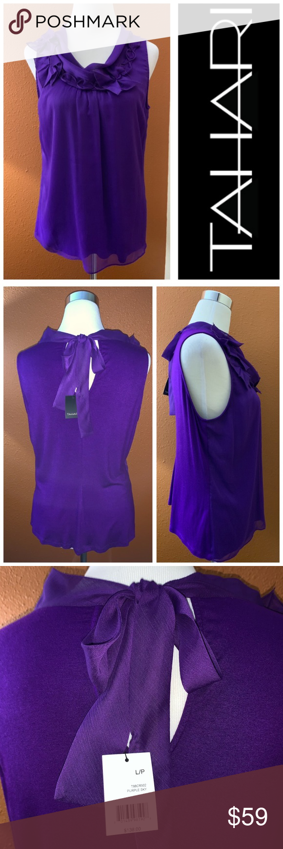 TAHARI Purple Blouse with Embellishments ▫️#0131 ▫️NWT ▫️Ties in back ▫️Lined ▫️Size Large Petite  ▫️Orig. $138 Tahari Tops Blouses