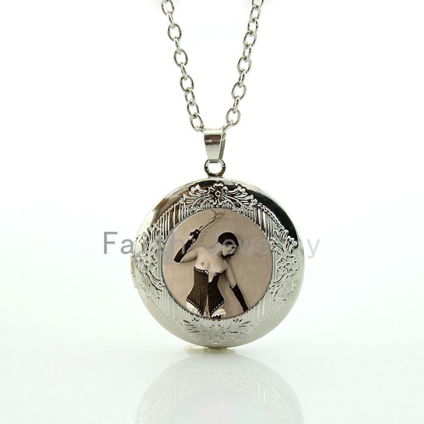 Fashionable silver plated Sexy Girls locket necklace 1920s vintage ...