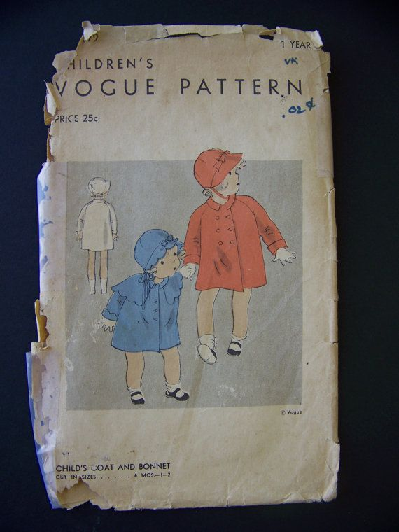1930s Vogue Baby Girls Coat and Hat Pattern with capelet | 1930s ...
