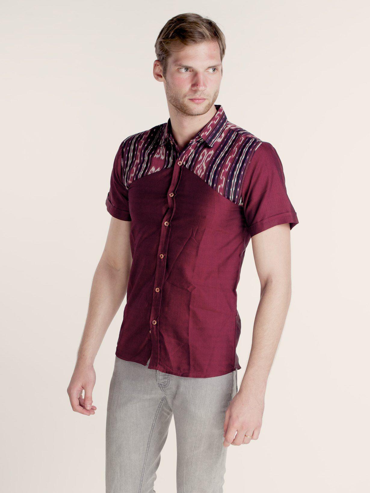 Maumere Tenun bination Shirt Dark Maroon