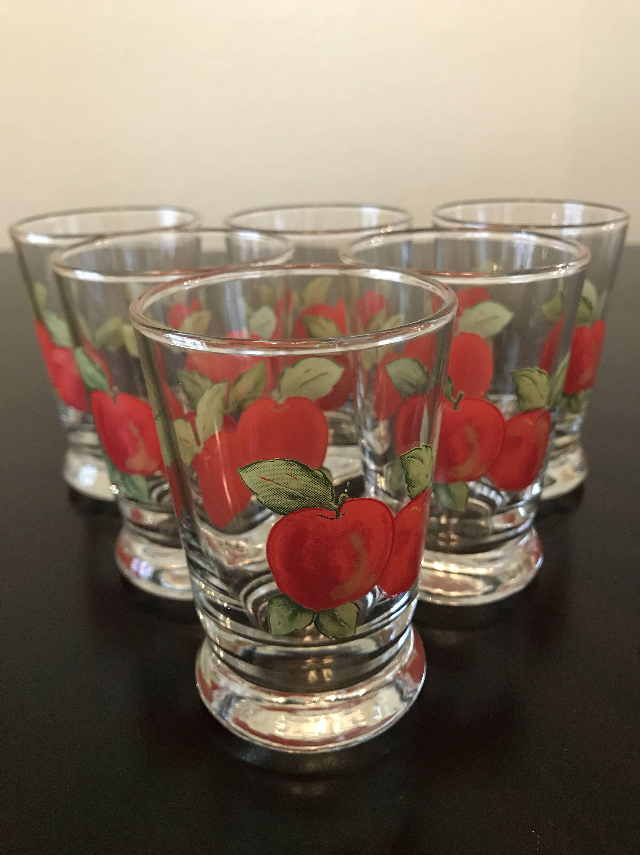 Vintage Libbey Apple Juice Glasses Apple Glasses Libbey Juice Glasses Red Apple Juice Glasses By Libbey By Baze Vintage Drinking Glasses Vintage Vintage Apple