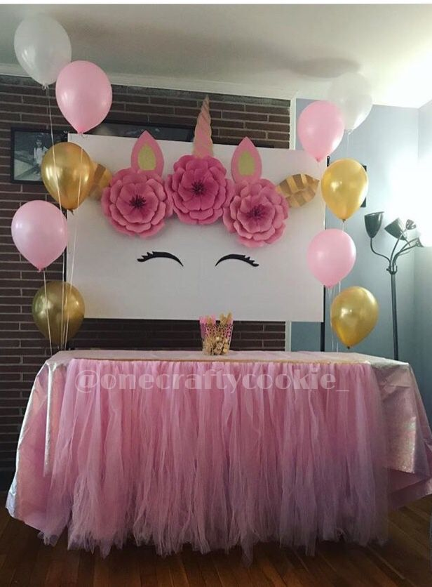 Simple pink unicorn tables tutu style & balloons | party