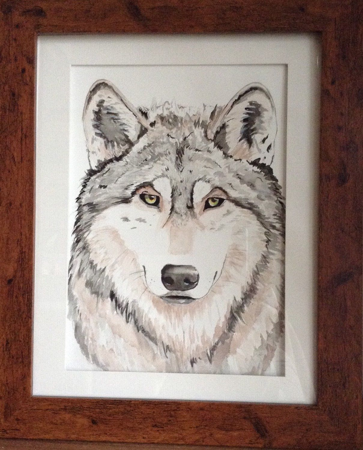 A personal favorite from my Etsy shop https://www.etsy.com/listing/226823061/wolf-art-watercolour-painting