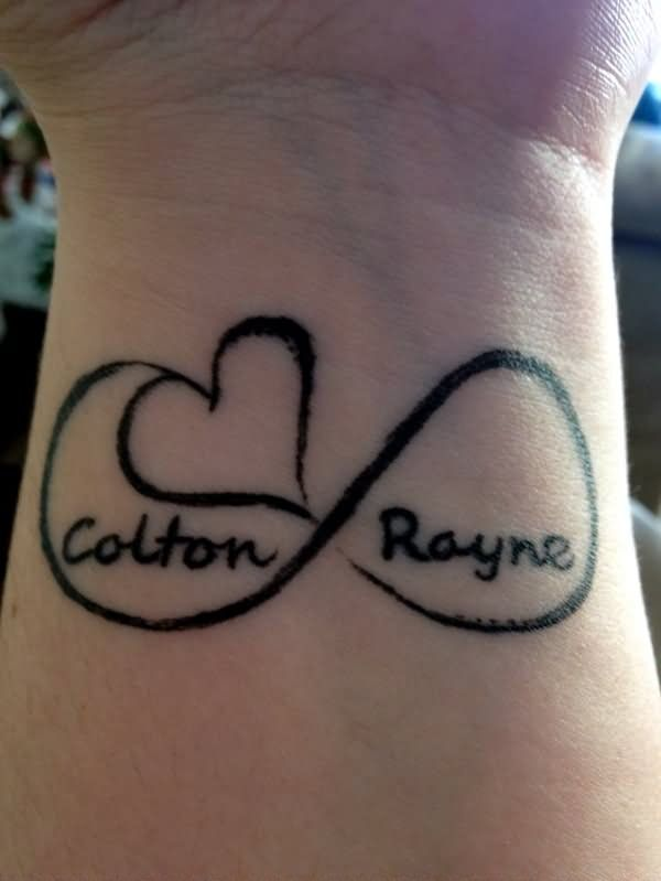 00e35b854 Colton Rayne Name With Infinity And Heart Tattoo On Wrist By Alissa ...