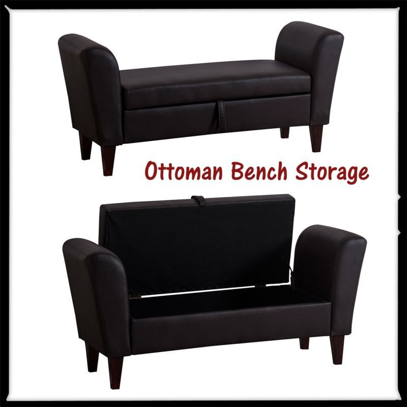 Ottoman Bench Storage Box Stool Seat Armed Bed Sofa PU Leather Home  Furniture Inu2026