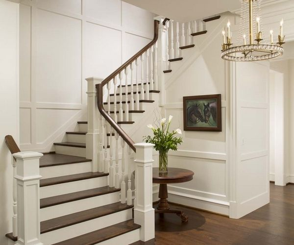 Elegant Foyer Stair Wraps A Paneled Two Story Entry Hall: Beautiful Interior Staircase Ideas And Newel Post Designs