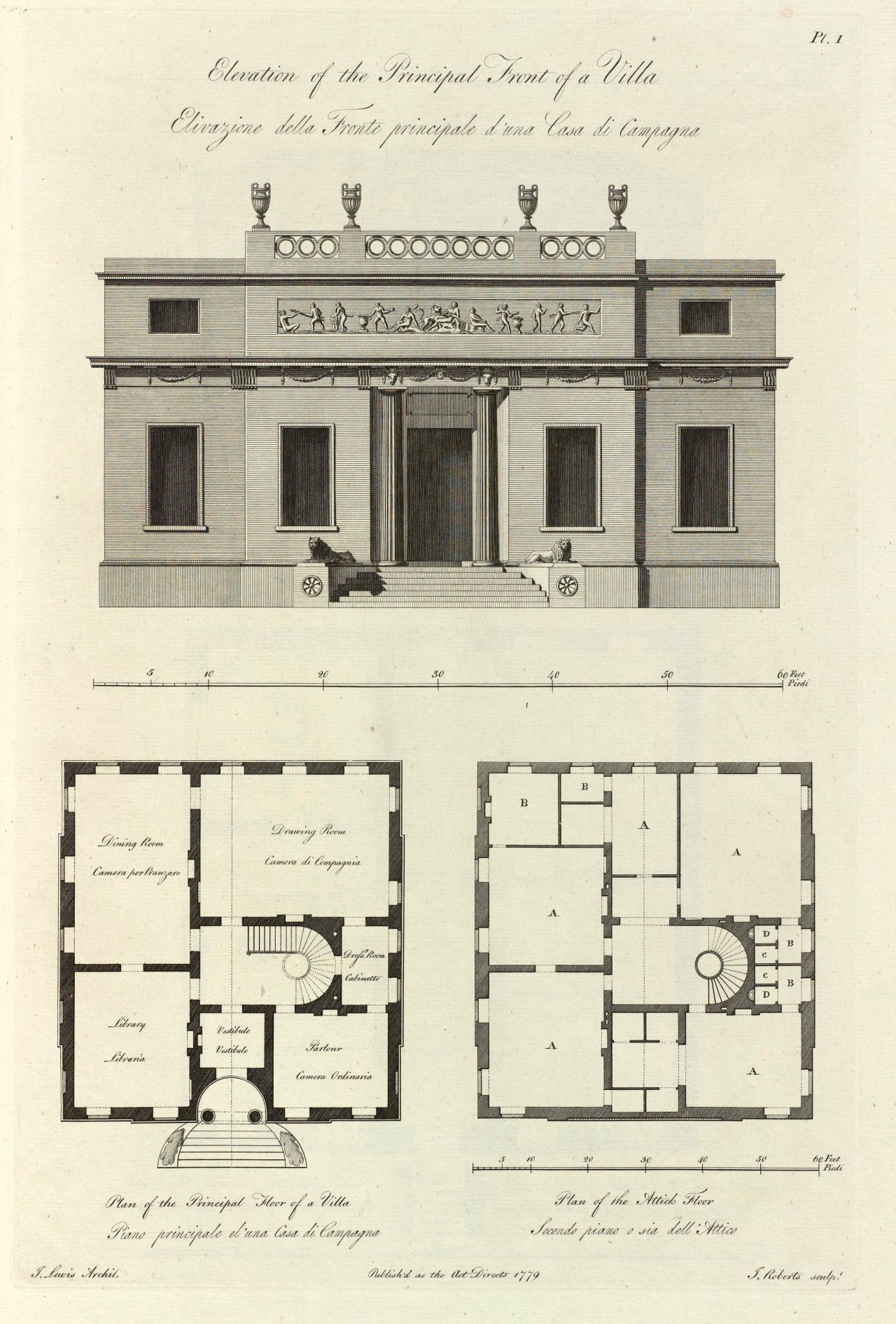 Elevation And Plans Of A Villa 1779 Floor Plans