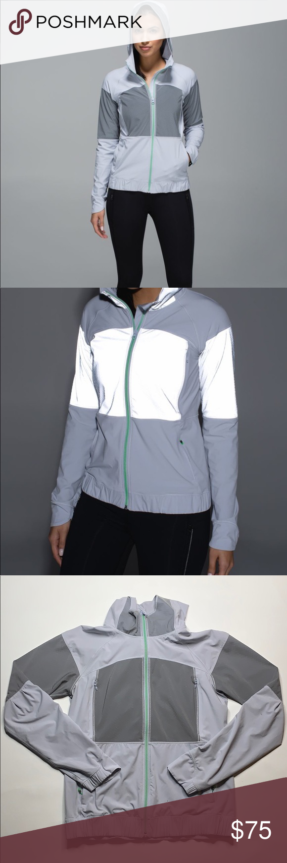 Lululemon reflective full zip hooded jacket Clothes