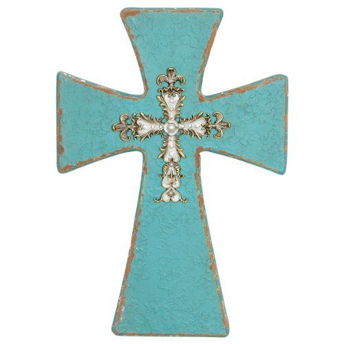 Decorative Crosses For Wall decorative wooden crosses | wall cross distressed turquoise wooden