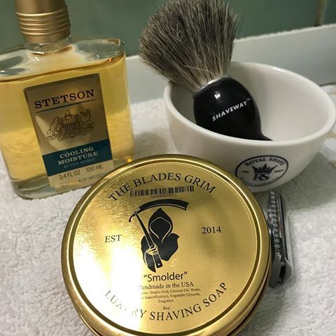 Today S Shave Includes 2 More New Additions To My Cabinet The Blades Grim Smolder Luxury Shaving Soap And Stetson Cooling M Shaving Soap Wet Shaving Shaving
