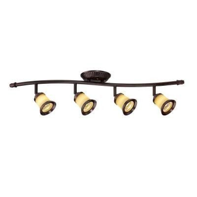 4 Light Antique Bronze Track Lighting With Wave Bar Fixture