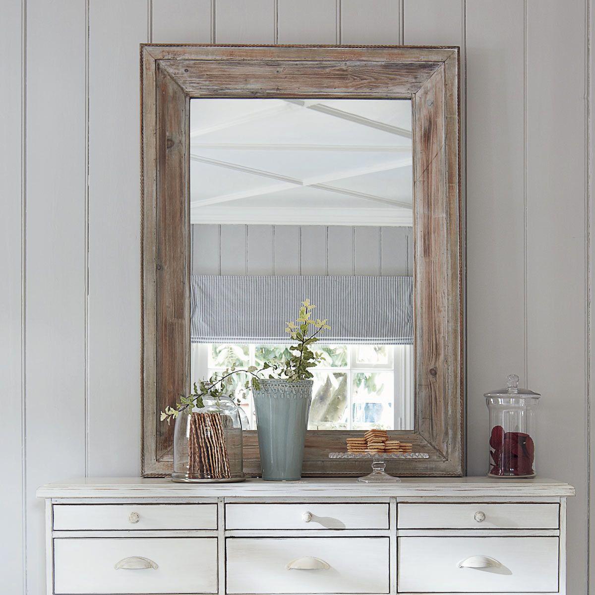 Specchio in legno sbiancato h 112 cm perrine coastal - Specchio bagno legno ...